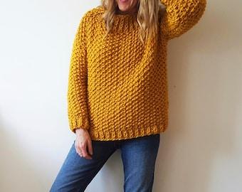 DIY Knitting Kit. Oversized Sweater Jumper Cardigan. Super Chunky Giant knit kit, Learn to knit, extreme pattern, Knitting kit K026