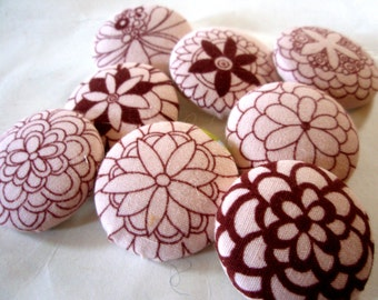 Buttons - Mod Designs Fabric-Covered Buttons - Alexander Henry Designer Fabric Buttons - Light Pink and Maroon Flower Button Set - Floral
