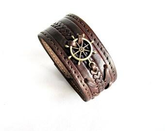 Ship wheel bracelet mens nautical leather cuff bracelet gift for him ship wheel leather bracelet brown leather wristband seeman jewelry