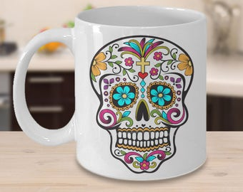 Day of the Dead Coffee Mug Dia De Los Muertos Mug Dia De Los Muertos Decor Colorful Sugar Skull Mug Mexican Folk Art -Ceramic Cup Gift