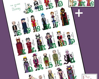 Disney inspired Villains Alphabet Cross Stitch - PDF Pattern - INSTANT DOWNLOAD