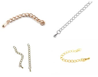 5, 10 or 20 chain extension (extension) 35mm with small drop / chain silver, gold, rose gold (pink gold) or bronze