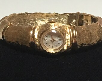 Vintage Baroness Clamper Gold Watch 17 Jewels