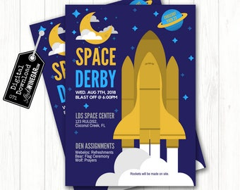 Cub Scout Space Derby Invitation, Blue & Gold Space Shuttle Invite | Outer Space Party Invite Personalized Digital Download 4x6 or 5x7 JPG