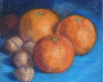Oranges and walnuts, Oil painting 21cm x 21cm