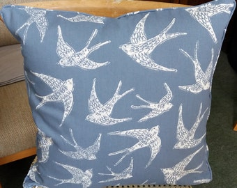 "White Swallows on Blue Cushion Cover. 18 Inch Square, ""High Summer"". Birds Cushion, Home Decor, Modern Living, Modern Cushions"