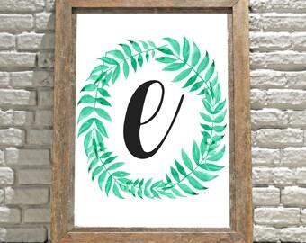 Printable Monogram Wall Art - E