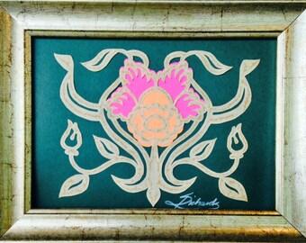 "PAPER CUT Daffodil, Original ART, Handmade Paper Cutting, Scherenschnitte, 4x5"""