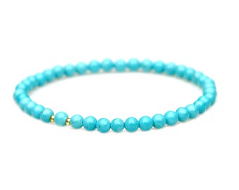 Sleeping Beauty Turquoise Beaded Bracelet Southwest Blue Petite Everyday Feminine Flair Stackable Stretch Jewelry by Mei Faith