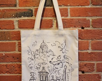 Philadelphia Art Canvas Tote Bag with Pocket, Rittenhouse Square, City Architecture Skyline, Philly Tote