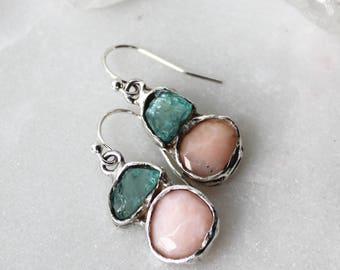 apatite earrings, peruvian opal earrings, recycled silver, dangle earrings, oxidized earrings, pink opal earrings, rose cut