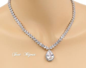 Wedding Necklace Zirconia Platinum Plated Necklace Wedding Jewelry Wedding Accessory Bridal Jewelry Bridal Necklace Statement Necklace Vix