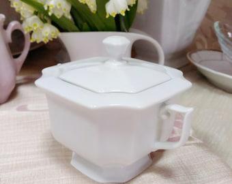Vintage Ceramic White Sugar Bowl Empir Thun Porcelain Czech Republic Porcelain White Sugar Pot Chine bone Bohemia Ceramic Sugar Bowl Server