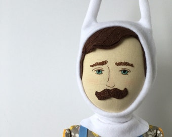 SALE!!!!  Señor Conejo - handmade heirloom cloth doll of linen, cotton, and wool