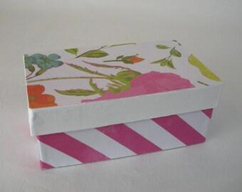 Bright pink striped floral keepsake storage box