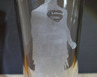 Superhero Superman Homemade Hand Etched Tumbler A Must Have!!
