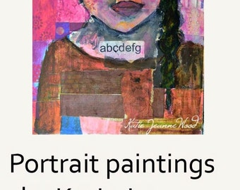 Art On Sale. Original Acrylic Teacher Portrait Painting. Mixed Media Collage Art. Pink Wall Hanging. School Wall Decor