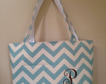 Blue & Natural Chevron Tote Bag with name/monogram embroidery