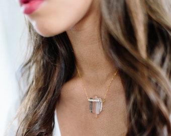 WAVE ombre bohemian quartz bridal necklace, rose smoky boho crystal wedding jewelry