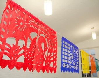 5 Papel picado, mexican papel picado, party papel picad, party decoration, mexican party, tissue paper, paper banners, mexican paper banners