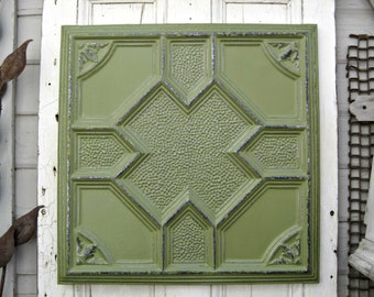 "Antique Ceiling Tin Tile, Framed 24"" ready to hang,  Architectural salvage, Green wall decor."