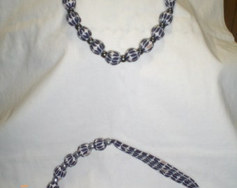 "Cloth Beaded Necklace handmade cloth covered Beads Tie closure. adjustable 40"" long Made in Maine"