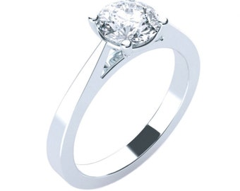 Solitaire Cathedral Moissanite Engagement Ring Round Brilliant Cut 14K 18K Gold Platinum Palladium 1ct 6.5mm 1.5ct 7.5mm 2ct 8mm