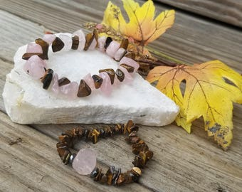 Energy Bracelet, Protected Love Chakra , Romance, Gift for Her, Rose Quartz, Tiger's Eye, Respect, Loyalty, Shine Synergy Collection