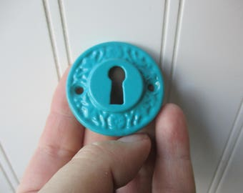 "Round embossed escutcheon keyhole surround skeleton key hole 1 5/8"" inch screw on cast metal aqua blue rustic farmhouse hardware"