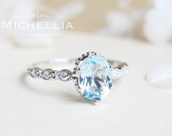 Vintage Inspired Oval Ring in Aquamarine, Aquamarine Oval Engagement Ring, Available in 14K Gold, 18K Gold, or Platinum, R5001