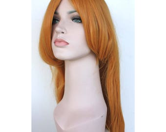 Super long goldenrod straight wig. Synthetic hair. high quality wig. ready to ship.