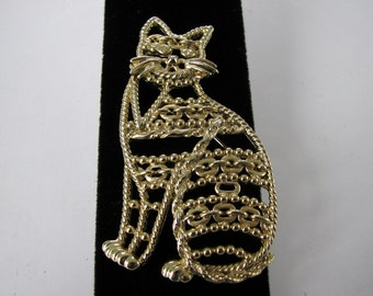 Vintage AJC American Jewelry Chain Co. Cat Brooch Signature Piece Pin