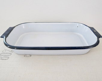 Vintage White and Blue Enamel Large Rectangle Pan
