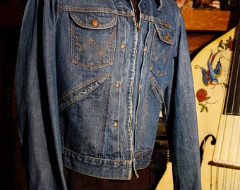 Vintage 60's Vintage Wrangler Zippered Western Blue Jean Denim Jacket Pleated tagged 40 Men or Women