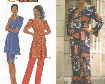 90s Shanti Womens Tunic, Skirt & Pants Shaped Neckline Simplicity Sewing Pattern 7495 Size 12 14 16 18 Bust 34 36 38 40 UnCut