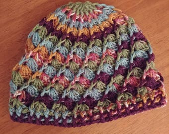 Multicolor spiral crochet beanie
