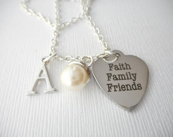 Faith Family Friends, Pearl- Initial Necklace/ Sister, teen gift, Gift Ideas, Birthday Gift, bff jewelry, Personalized Friend, gift for bff