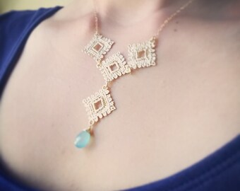 Gold Lace Bib Necklace with Blue Chalcedony Gemstone- Statement Necklace, Wedding Bridal Jewelry, Delicate Feminine, Unique Deisign