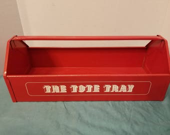 """The Tote Tray Vintage Red Tool Transport Tote, gardening tool Caddy 19""""x7""""x8"""" Deep, decor"""