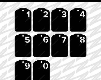 4 Sets of Number Tags with Folder (2.5x3.5) - SVG, DXF, PNG, Digital Download, Cut file, Scrapbooking, Stencil, Cutout, Envelope
