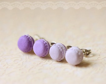 Food Earrings - French Macaron Earrings in Purple Series