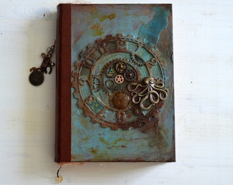 Handmade steampunk journal, wanderlust notebook,  diary, journey journal, unique book, junk journal