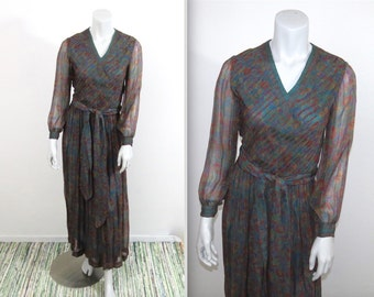 Gorgeous 70s Treacy Lowe London Rich Hippie India Silk Dress Vtg size 8