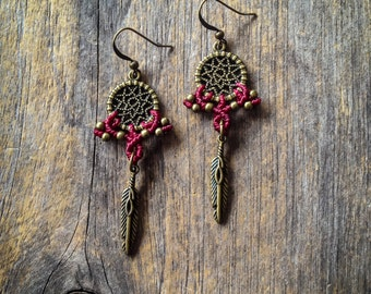 Small dreamcatcher Macrame earrings boho bohemian tribal chic jewelry by Creations Mariposa