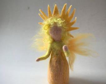 Sun fairy,Wet  felted. Waldorf. Felted.flower child.Sunbeam Fairy