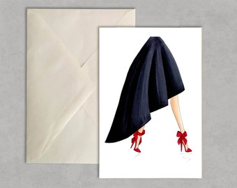 Strut your bow - fashion illustration, greeting card, fashion card,