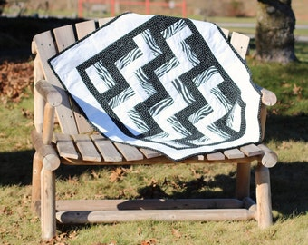 Quilt Black and White Zebra Print Crib Quilt for Boy or Girl