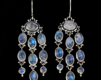 Rainbow Moonstone Chandelier Earrings, Sterling Silver Rainbow Moonstone Earrings, Moonstone Dangle Earrings, Gemstone Earrings: DELIA
