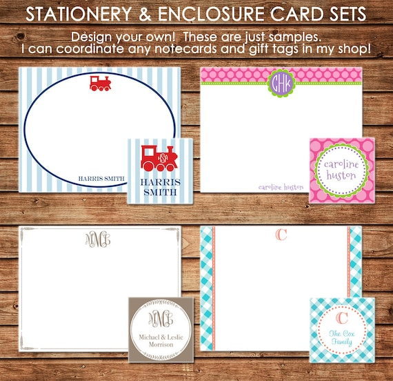 Executive College Stationery Note Cards: Personalized Stationery Note Cards With Coordinating Gift Tags