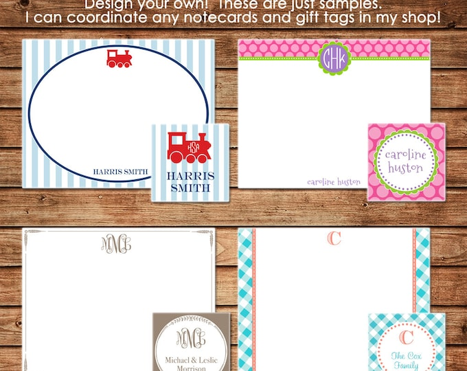 Personalized stationery note cards with coordinating gift tags / enclosure cards - Design your own